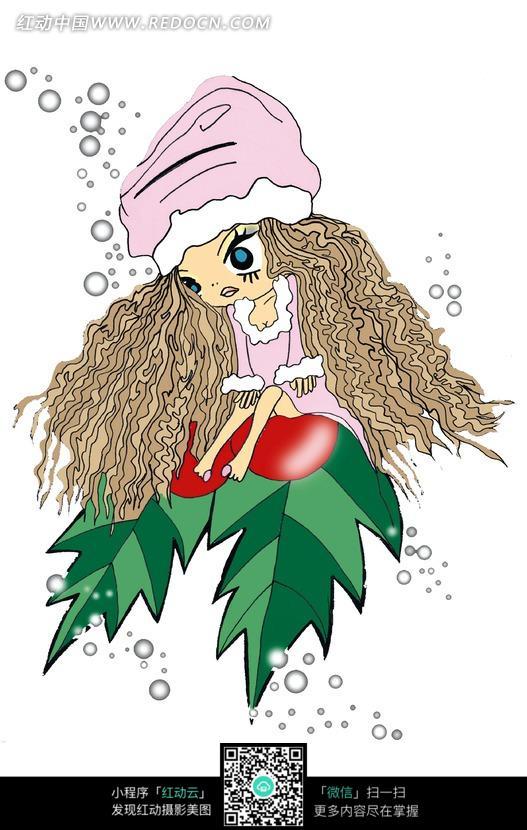 冬青果上坐着的卷发的卡通女孩图片图片