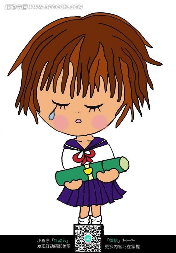 哭泣的穿校服的卡通女孩图片