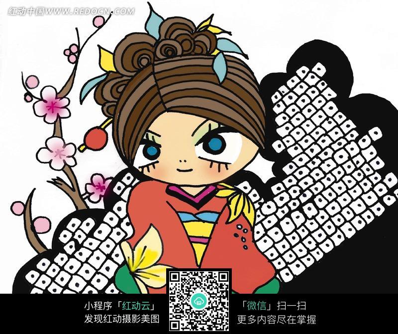 手绘彩色女孩插画图片_人物卡通图片