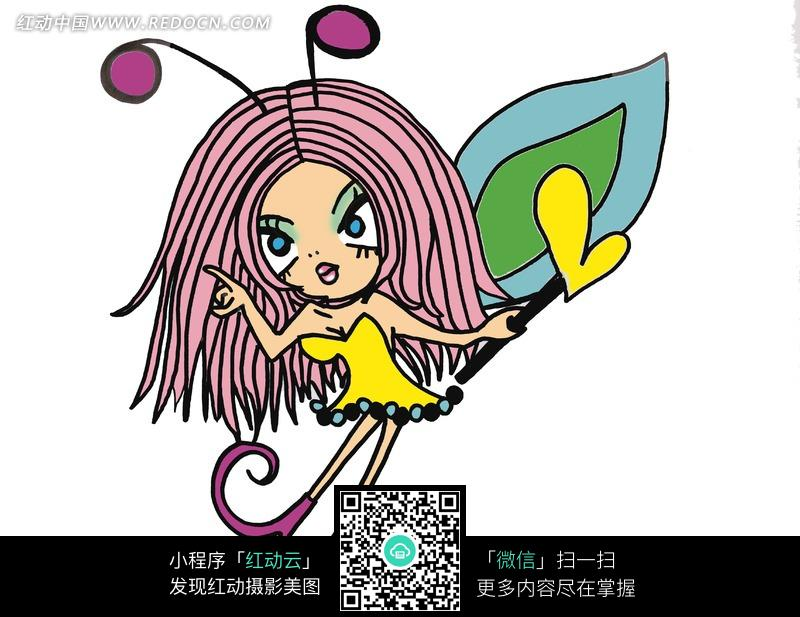 蝴蝶仙子装扮的卡通女孩图片