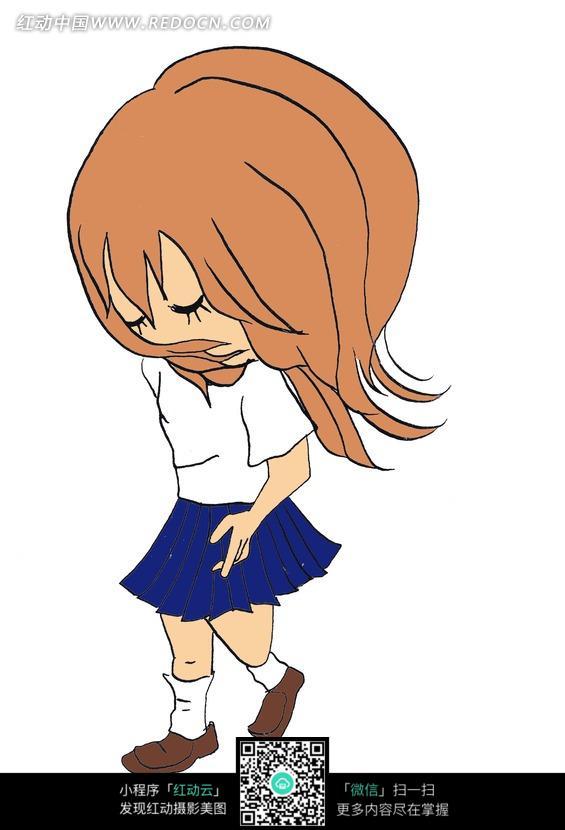 穿白色上衣的蓝色裙子的卡通女孩图片 漫画插