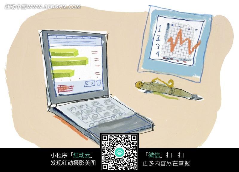 笔记本电脑和折线图/笔图片