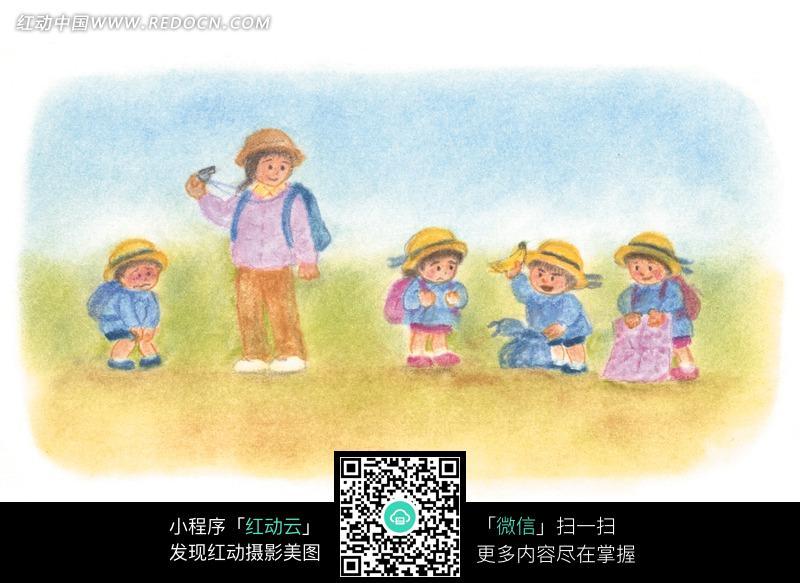 蜡笔画出游的老师和小学生图片