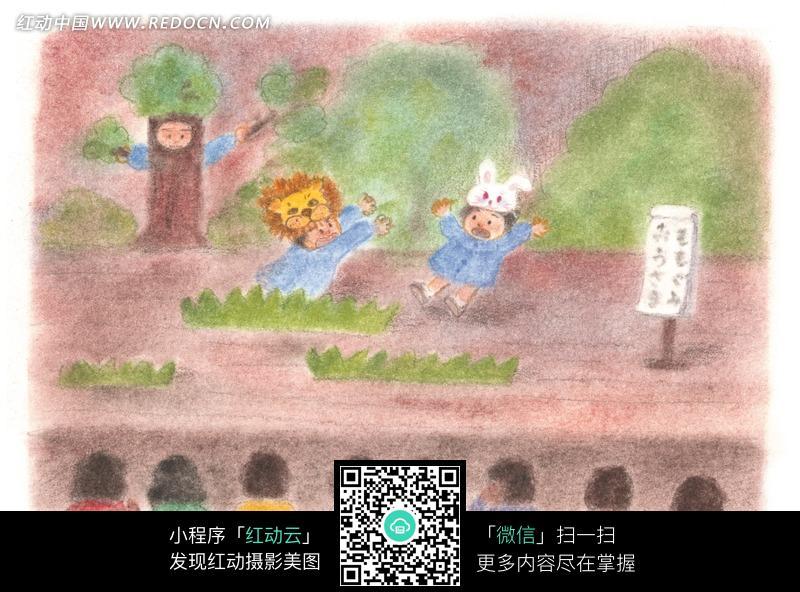 蜡笔画表演老虎与兔子的孩子