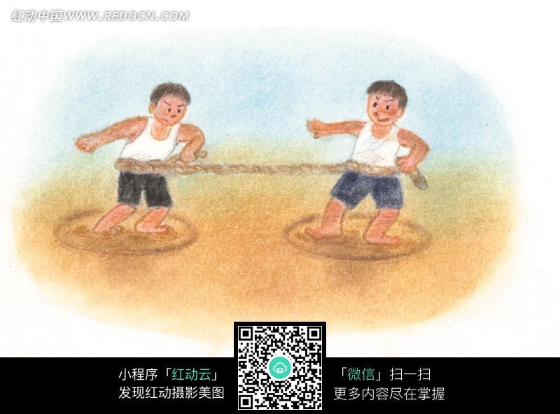 两个小男孩在拔河比赛