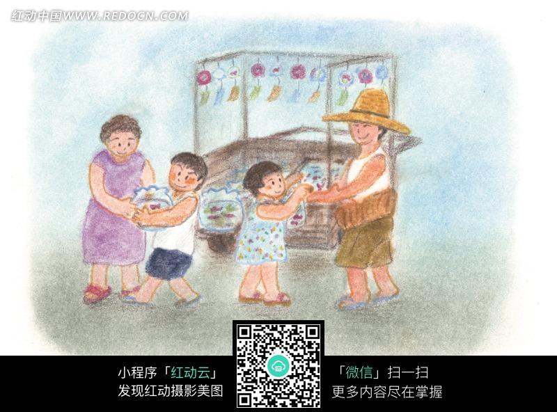 金鱼的儿童蜡笔画图片