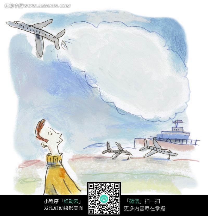 仰望天空中的飞机的男子图片-漫画插画 绘画图片