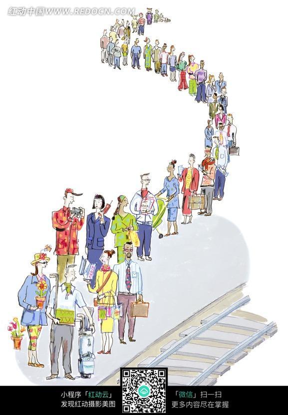 排队 等火车的人群 铁轨 插画 手绘 卡通漫画人物 人物素材 图片素材