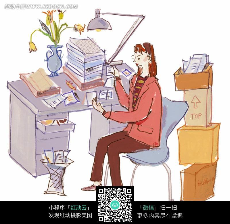 免费素材 图片素材 漫画插画 人物卡通 > 插画书桌旁坐着的女人图片