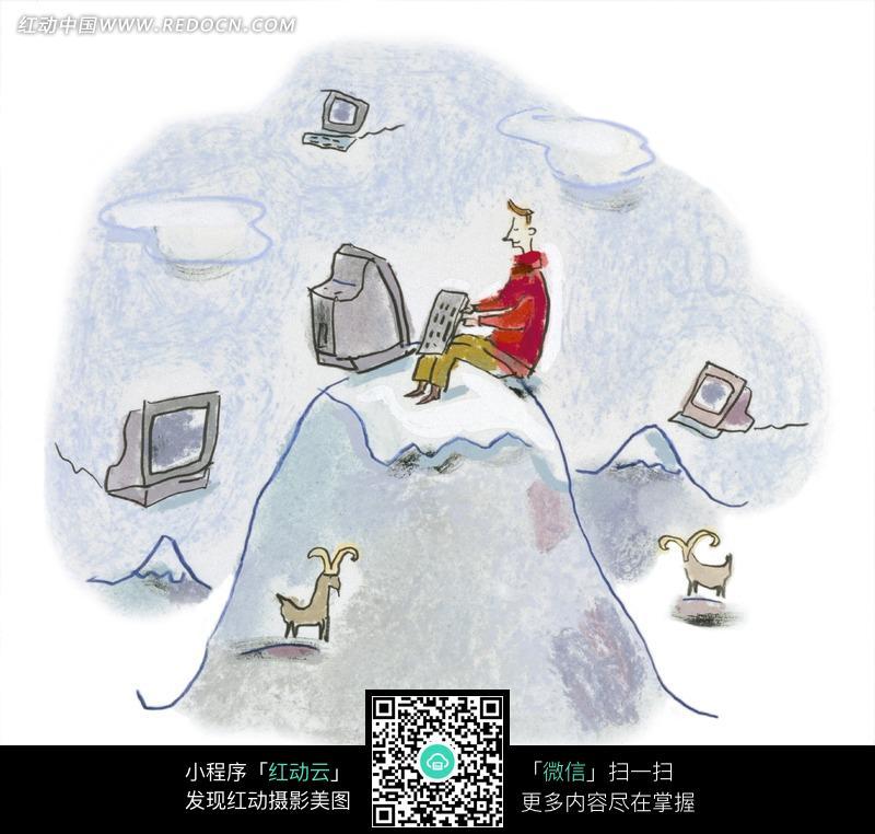 在山上使用绘画的插画电脑漫画-男人漫画 图片插画所田a绘画图片