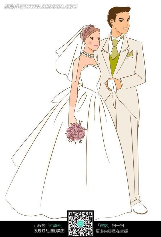 揽着拿着花束的新娘的新郎