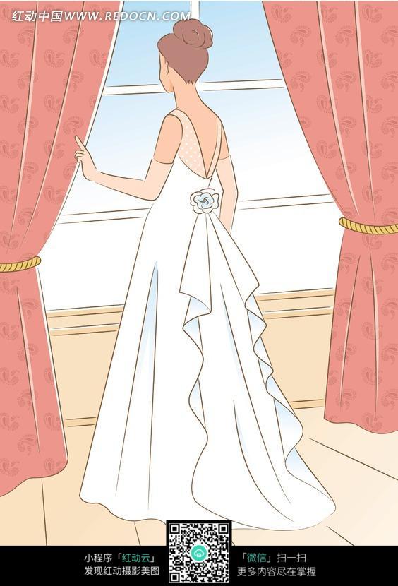 站在窗前穿白色婚纱的女子的背影图片