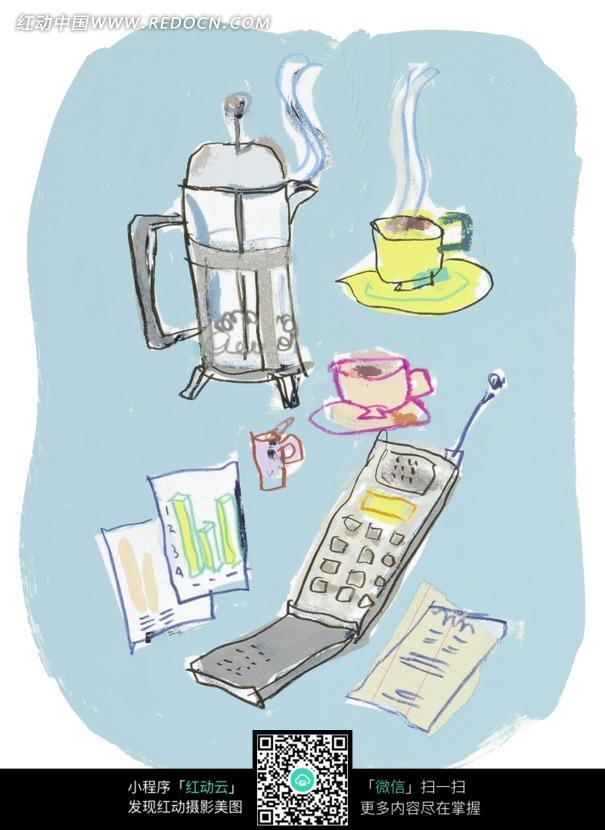 手绘插画日常器皿工具图片