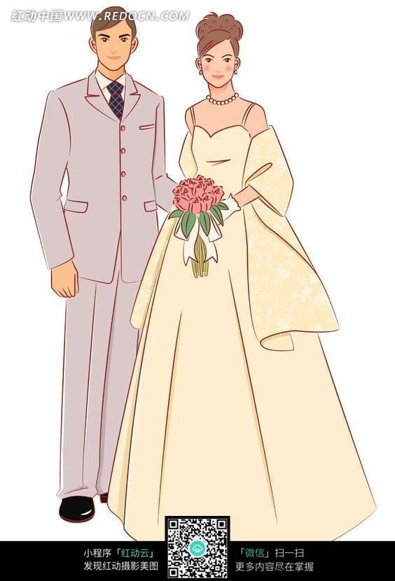 卡通西装婚纱情侣头像