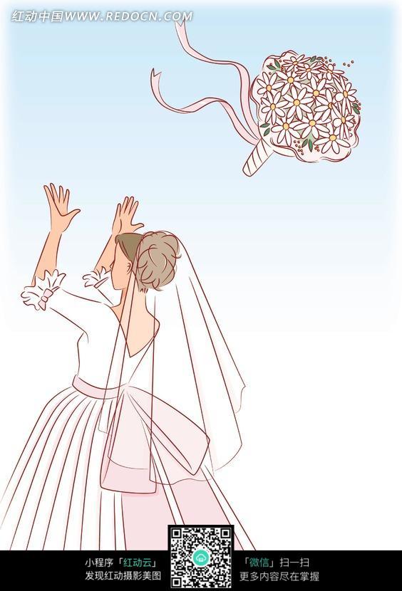 拿着手捧花的新娘线描_人物卡通图片_红动手机版