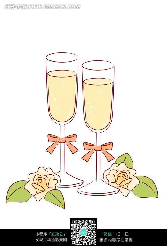 系着蝴蝶结的玻璃酒杯和花朵叶子图片
