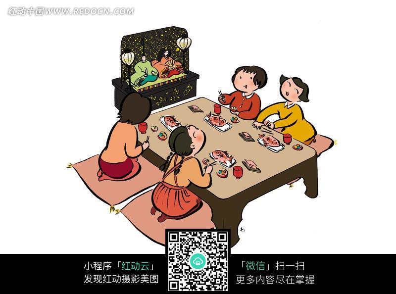 一家四口日本人吃饭看电视图片