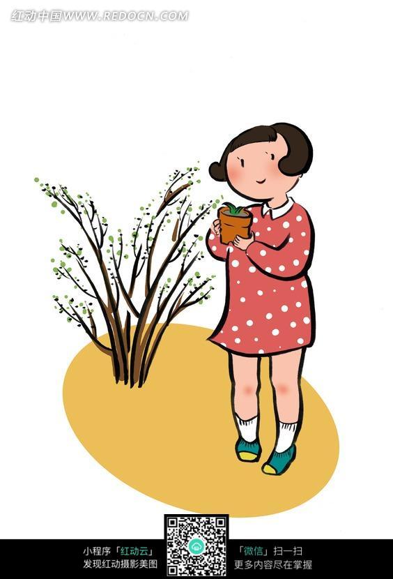 捧着盆栽的短发小女孩图片
