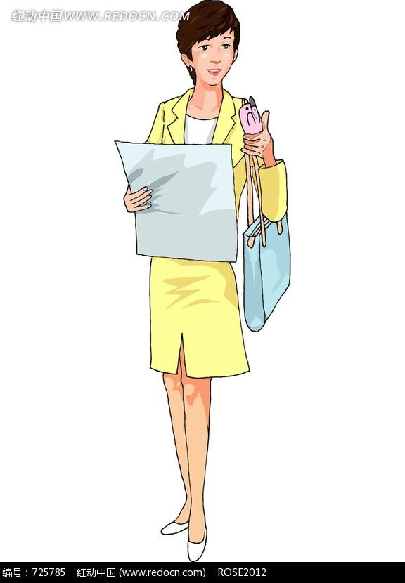 免费素材 图片素材 漫画插画 人物卡通 拿着报纸看着手机的职业女人