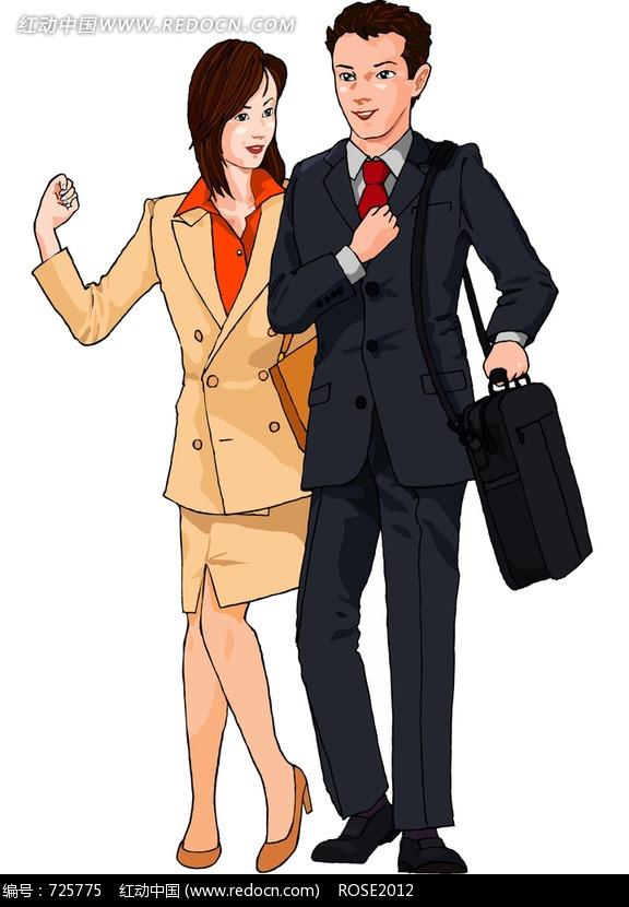 穿西装的男女人物插画图片
