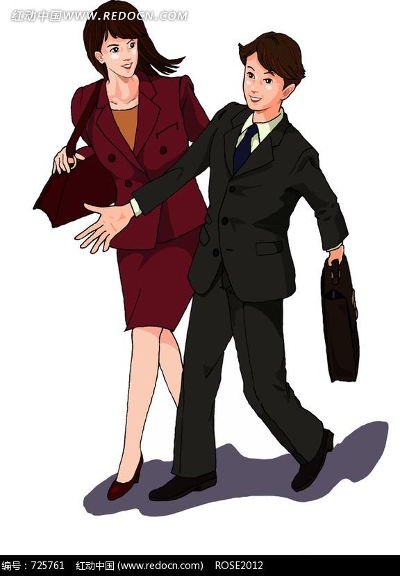 穿黑西装的男士穿红色正装的女士插画&