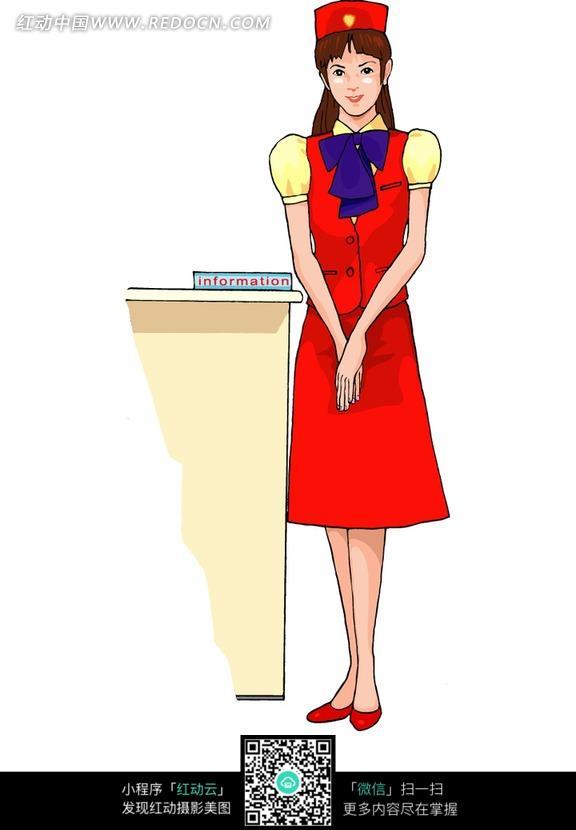 免费素材 图片素材 漫画插画 人物卡通 红色衣服的女乘务员  请您分享