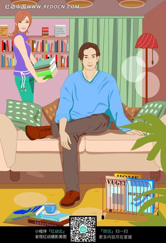 免费素材 图片素材 漫画插画 人物卡通 一幅家庭插画图片  请您分享