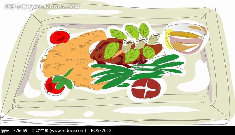 盘子 香菇 蔬菜 碗 手绘