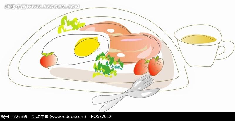 火腿蛋茶手绘早餐