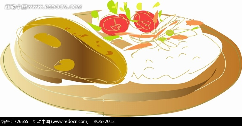 盘子里的许多不同颜色的食物图片
