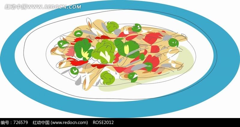 盘子里的小白菜和其它蔬菜图片