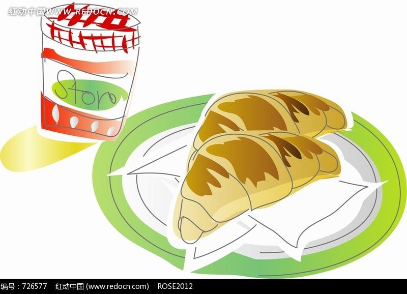 盘子里的面包构成的图片