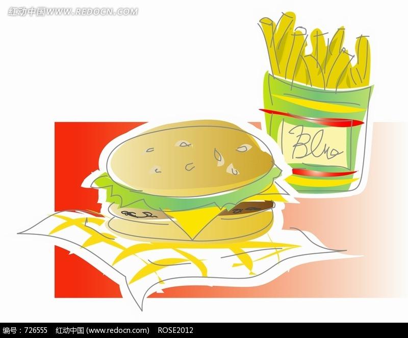 一个汉堡一客薯条图片