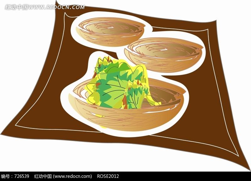 木碗 蔬菜 汤 手绘 插画 饮食  卡通人物 漫画人物 人物绘画 插画图片