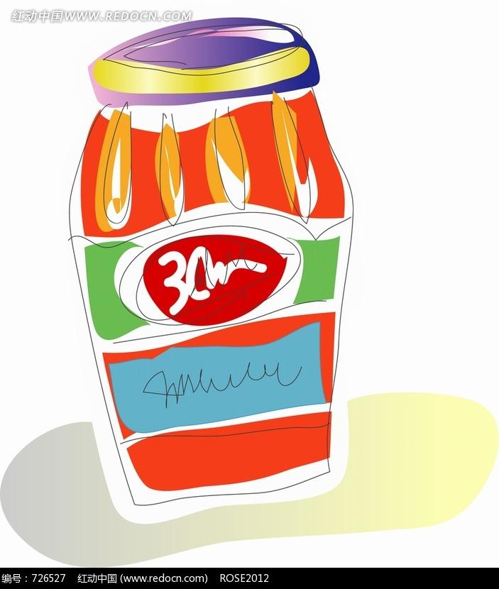 手绘瓶子插画图片_人物卡通图片