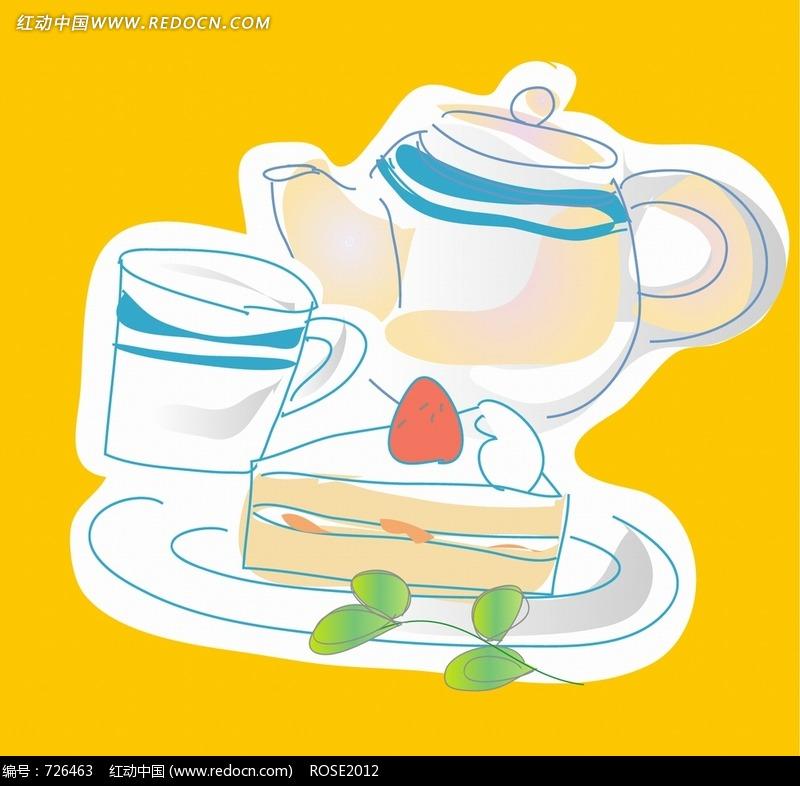 免费素材 图片素材 漫画插画 人物卡通 黄色背景下午茶与茶点