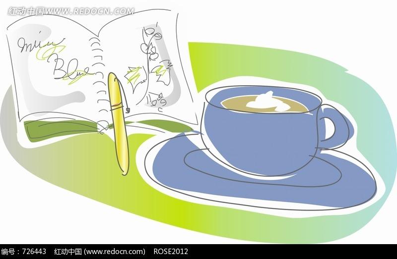 简笔画一杯咖啡一个笔记本jpg文件图片