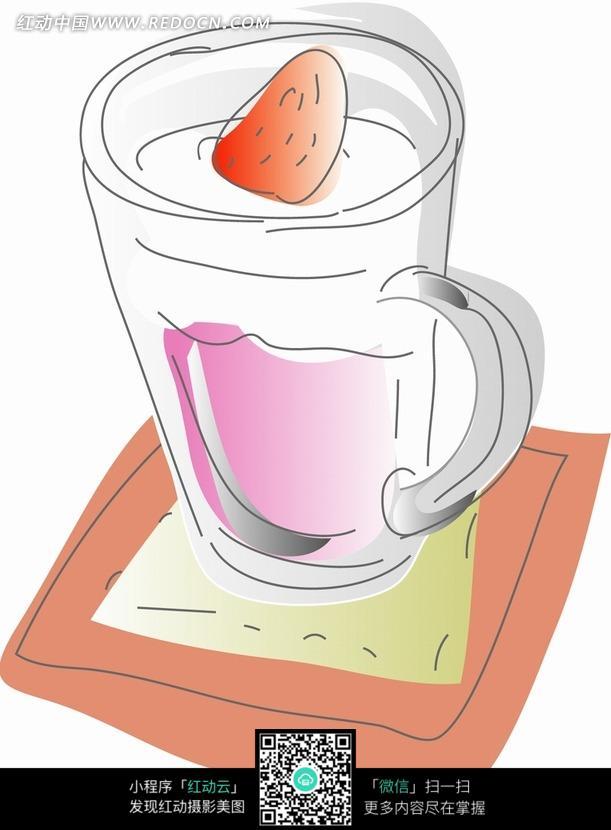 简笔画一杯雪顶草莓果汁JPG文件图片-漫画插