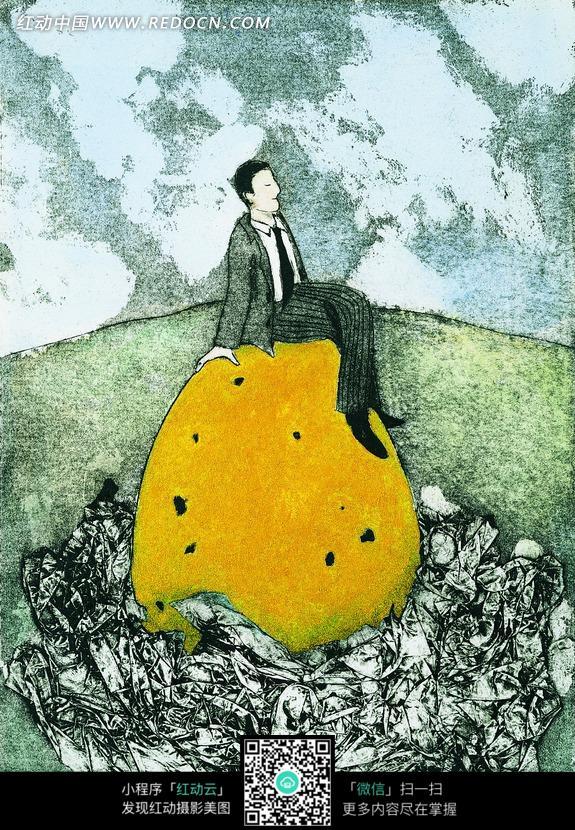 坐在黄色蛋蛋上的穿西装的男人图片