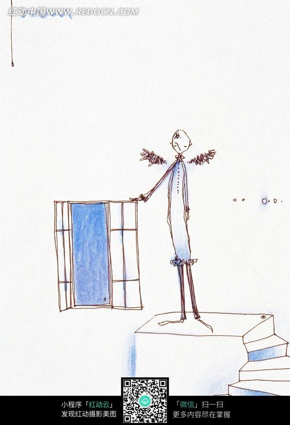 卡通抽象人物手绘画