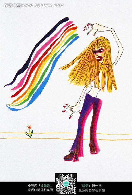 卡通女孩人物绘画图片