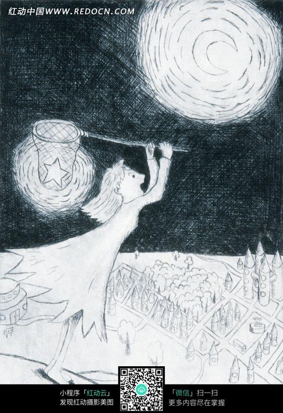 手绘少女捕捉月亮铅笔画