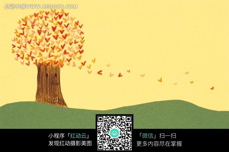 一棵有爱心组成叶子的大树