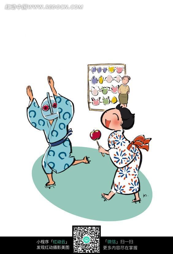 手绘和服女孩及戴面具和服男孩跳舞图片