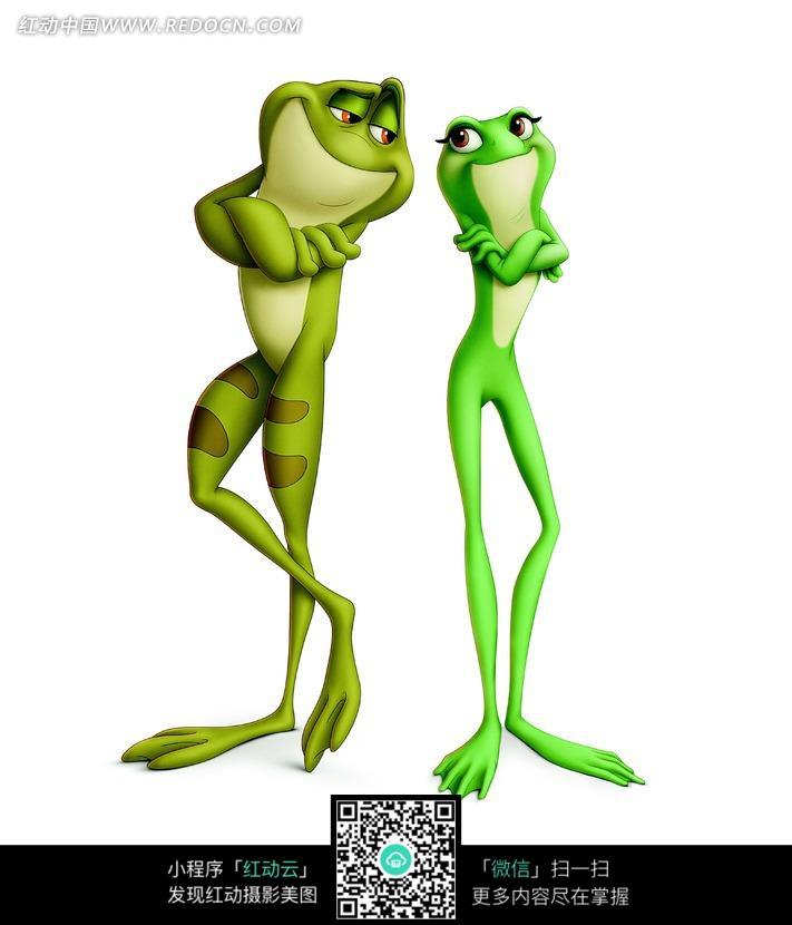 双手抱胸站着的青蛙图片