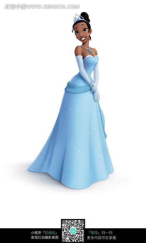 穿蓝色礼服的外国公主图片