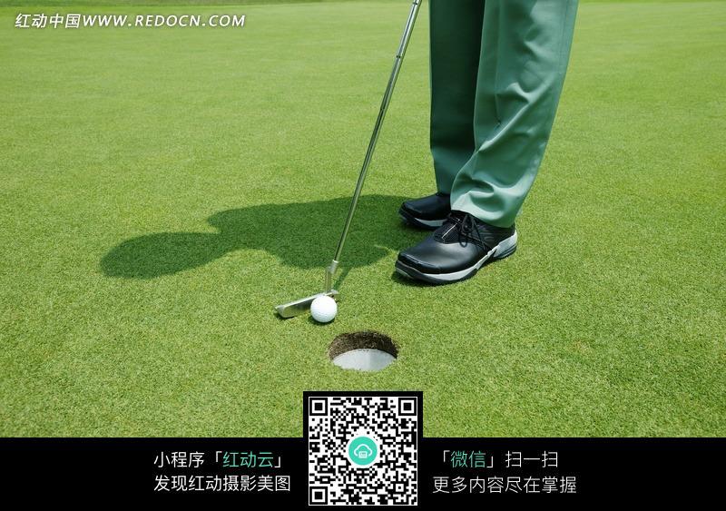 打高尔夫球进洞图片