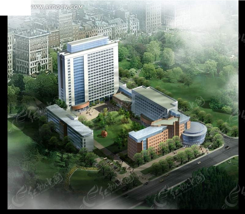 高层建筑俯视效果图PSD分层素材高清图片