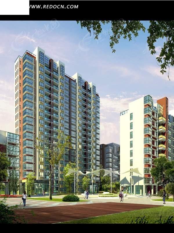 现代 高层住宅楼        psd素材 园林设计 psd素材 psd分层素材