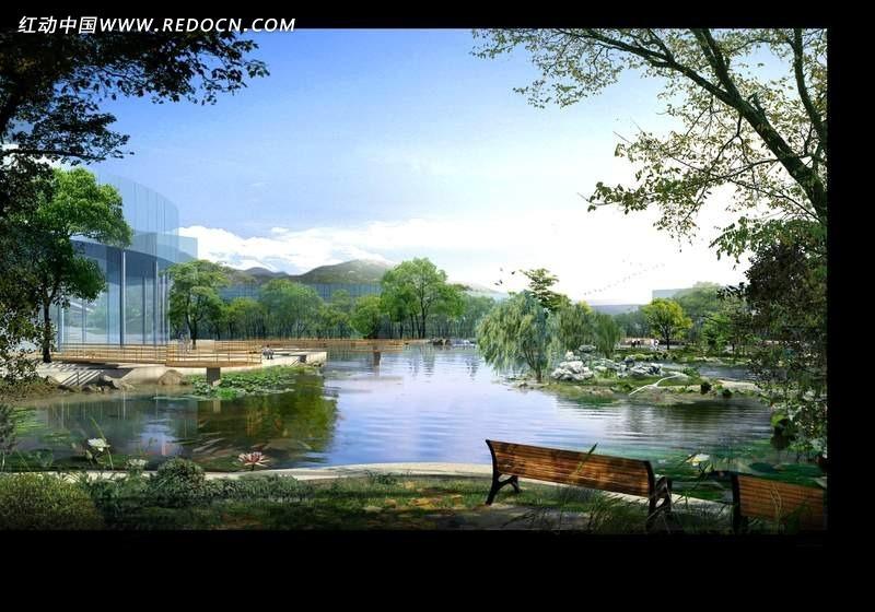 公园水景园林设计psd效果图